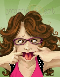 Silly Face Self-Portrait Caricature