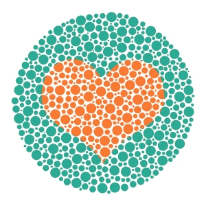 young@art icon heart in Ishihara color blind test plate to depict that love is (color)blind