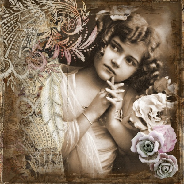little girl vintage art collage rose child from Pixabay